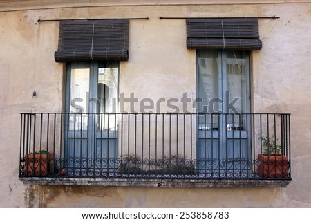 The vintage style european door and balcony