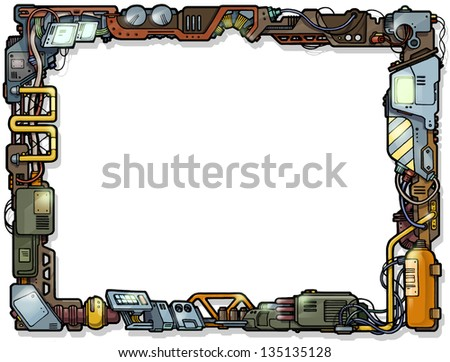 The vintage techological decorative hand-drawn cartoon frame. - stock photo