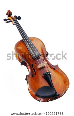 The violin on the white background