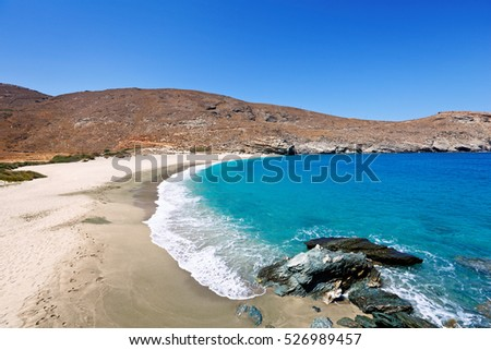 The virgin Achla beach in Andros, Greece