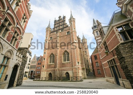 The Vleeshuis, also Butcher's Hall or Meat Hall, is a former guildhall in the center of Antwerp, built in the early 16th Century. - stock photo