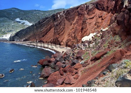The volcanic Red beach at Santorini island in the Cyclades of Greece - stock photo