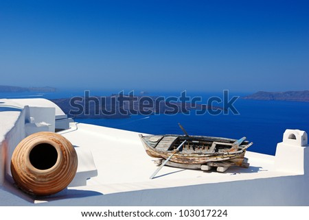 The volcano from Firostefani in Santorini, Greece - stock photo