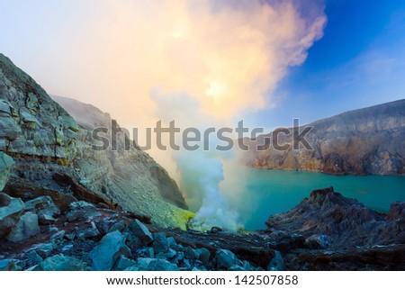 the volcano mountain is hot volcano - stock photo