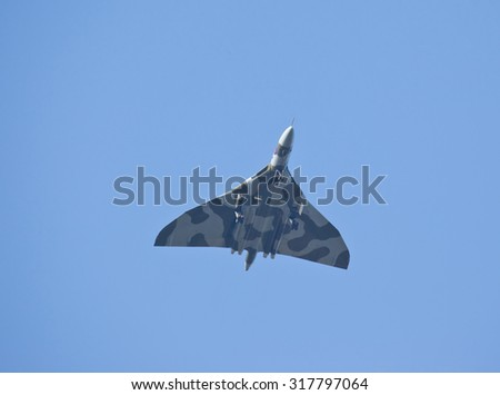 The vulcan aircraft flying over Auckley, Doncaster, England on 15th September 2015 - stock photo
