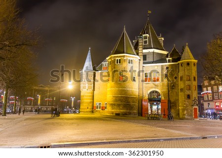 """The Waag (""""weigh house"""") in Nieuwmarkt square, Amsterdam, The Netherlands. The historic building was originally a city gate. - stock photo"""