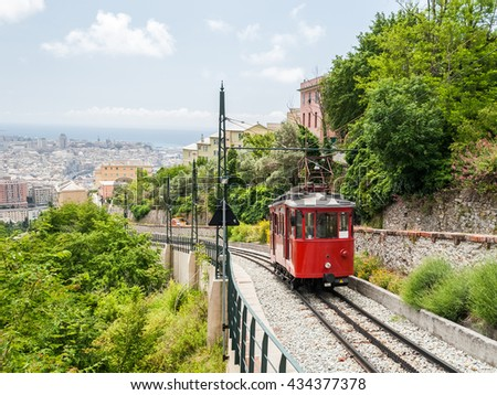 The wagon of an old rack railway connecting the city center of Genoa with the hill district Granarolo - stock photo