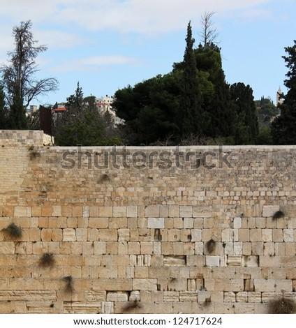 The wailing wall of Jerusalem city - stock photo