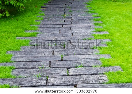 The walkway in the park - stock photo