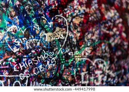 The wall full of messages from lovers in Juliet house, Verona, Italy.