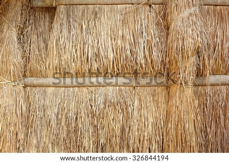 The wall of a native hut made from straw and bamboo  - stock photo
