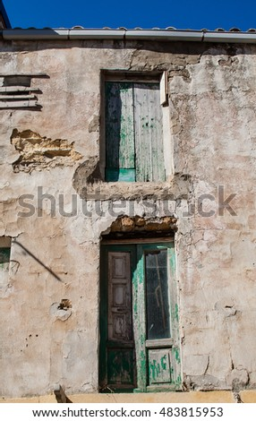 The wall of the old house. City Agrigento. Sicily, Italy
