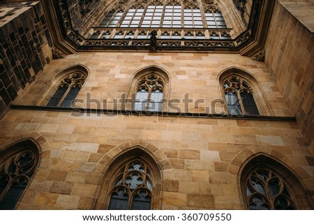 The wall with windows of Gothic Church - stock photo