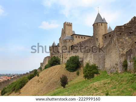 The walls around medieval city of Carcassone, France - stock photo