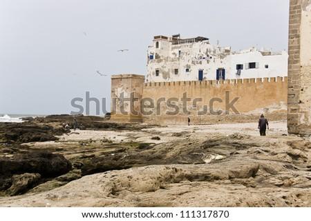 The walls in Essaouira, coast of Morocco - stock photo