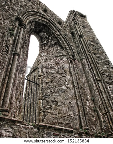 The walls of the ancient Rock of Cashel, Cashel, Ireland.                             - stock photo