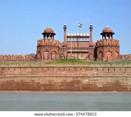 The Walls & Towers of the famous tourist attraction - Red Fort, Dehli, India