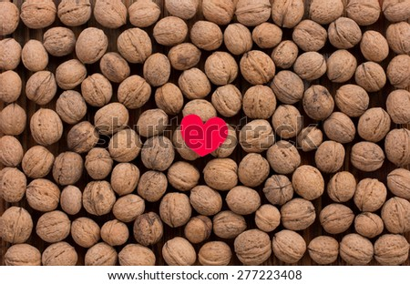 The walnuts on the old wood background. Copy space. Free space for text - stock photo