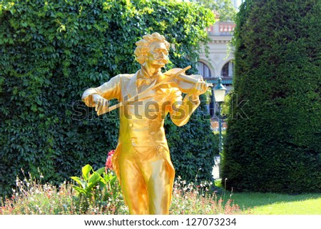 The Waltz King Johann Strauss Monument in the Stadtpark (City Park) in Vienna, Austria. Johann Strauss was an Austrian composer of light music, particularly dance music and operettas. - stock photo