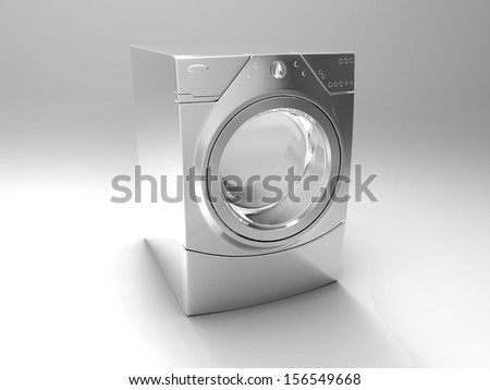 the washing machine on a gray background - stock photo