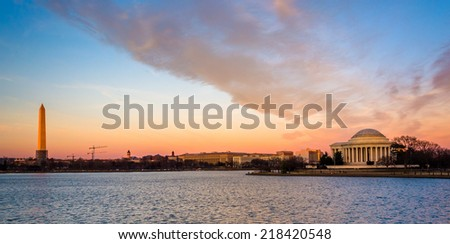 The Washington Monument and Thomas Jefferson Memorial at sunset, in Washington, DC. - stock photo