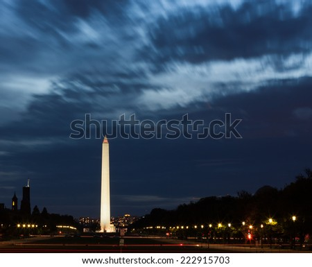 The Washington Monument on the National Mall in Washington DC