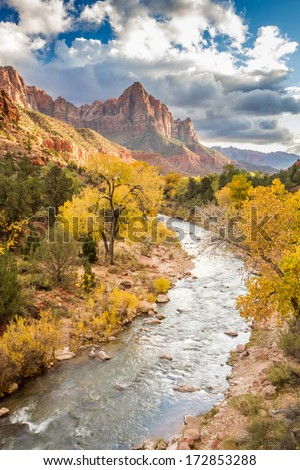 The Watchman in Autumn, Zion National Park, Utah - stock photo