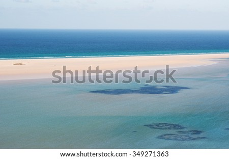The water in the lagoon, overview of the protected area of Qalansia beach, Gulf of Aden, Arabian Sea, Socotra Island, Yemen, Middle East. Socotra Archipelago, center of unique biodiversity