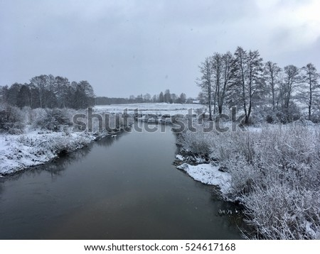 The water is not frizzed in the river during the winter time