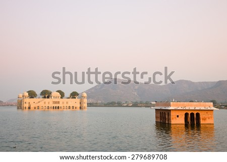The Water Palace or Jal Mahal as seen from the shores of Man Sagar Lake near Jaipur in Rajasthan, India - stock photo