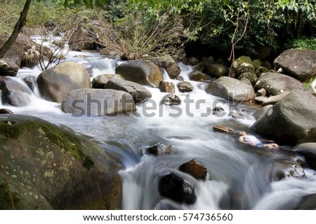 The water runs through the rocks in the forest.