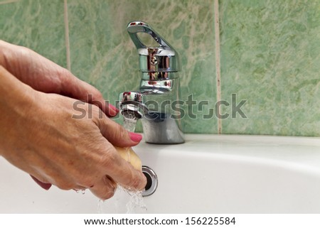 The water tap is open and ready to washing