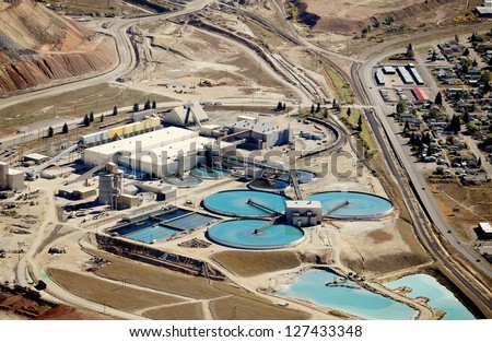 The water treatment facility at a copper mine and processing facility - stock photo