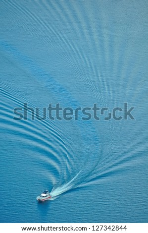 The water wave of a speedboat - stock photo
