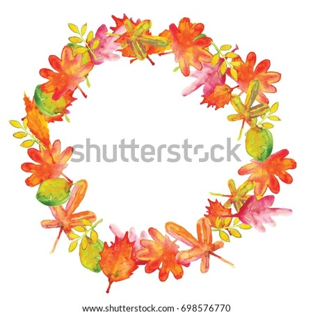 The Watercolor Illustration Of Fall Leaves Wreath In Warm Colors Of Autumn,  With Place For
