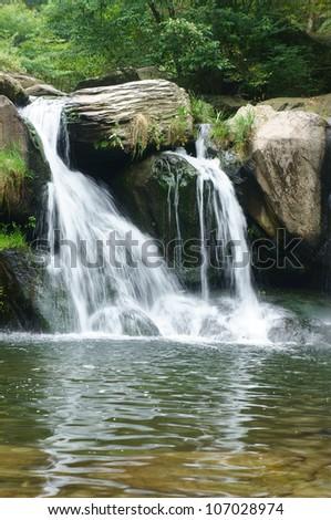 the waterfall - stock photo