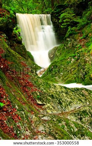 The Waterfall in Krkonose in the Czech Republic - stock photo