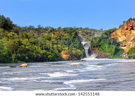 The waterfall on the Victoria Nile, Murchison Falls , northern Uganda - stock photo