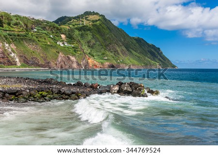 The waterfront of Povoacao in Sao Miguel, Azores Islands - stock photo