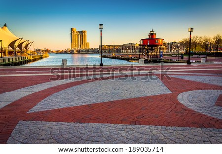 The Waterfront Promenade at the Inner Harbor in Baltimore, Maryland. - stock photo