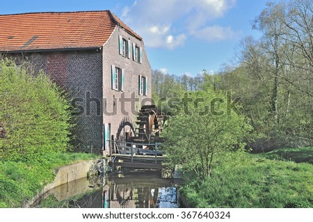 the Watermill at Leuther Muehle near Nettetal at Lower Rhine Region in Rhineland,North Rhine Westfalia,Germany - stock photo