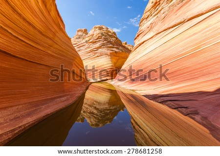 The Wave, Amazing Rock Formation Canyon in the Arizona Rocky desert, Paria Canyon Vermillion Cliffs - stock photo