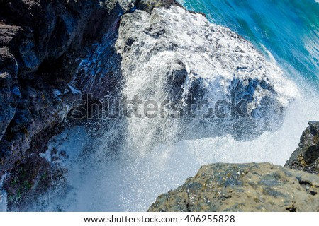 The wave breaks against neighboring rocks. Gris Gris cape on South of Mauritius.  - stock photo