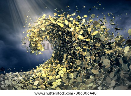 The wave of money. A huge tsunami wave of gold coins symbolizes success and good profits. Dark background of stormy sky creates dramatic atmosphere - stock photo