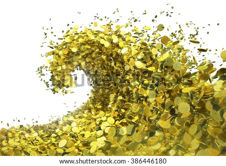 The wave of money. A huge tsunami wave of gold coins symbolizes success and good profits. The object isolated from background (tiff image contains alpha channel) - stock photo