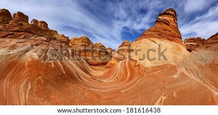 The Wave panorama, Arizona - stock photo
