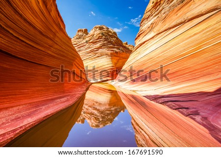 The Wave reflections, Paria Canyon - stock photo