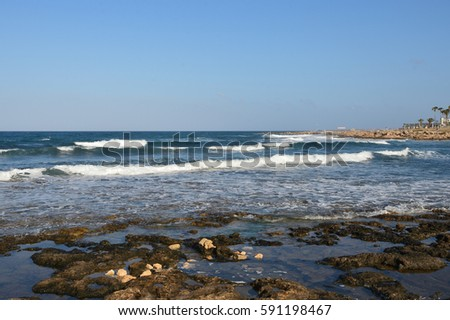 The waves of the Mediterranean Sea at the coast of Cyprus