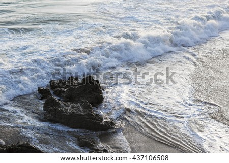The waves of the Pacific ocean, the beach landscape. The ocean and waves during strong winds in United States, California.  - stock photo