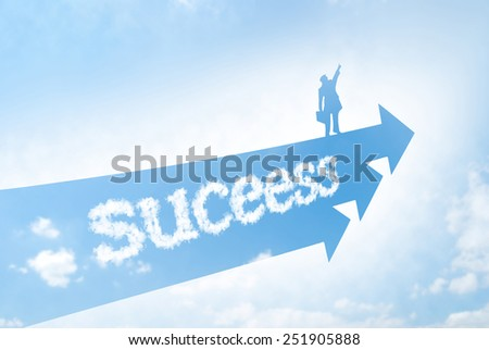 The way for success concept. Businessman stands on arrowhead and flies to sky. - stock photo